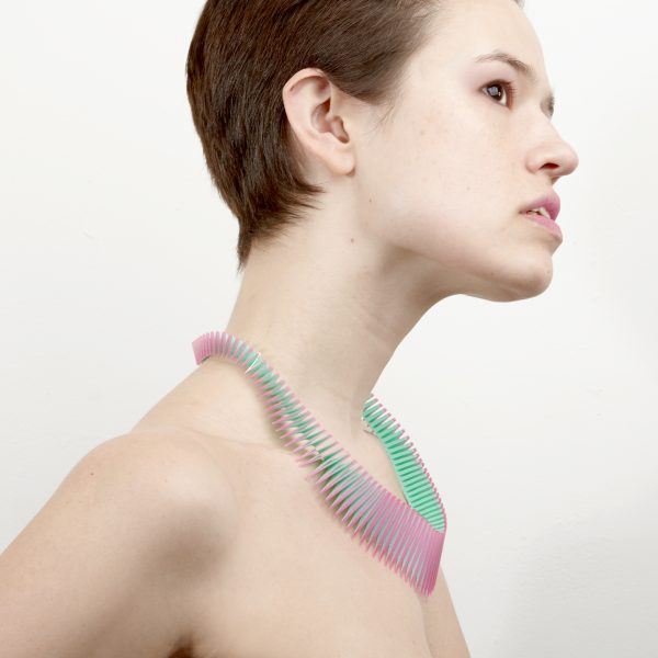 Pink and green origami necklace by Rentaro Nishimura