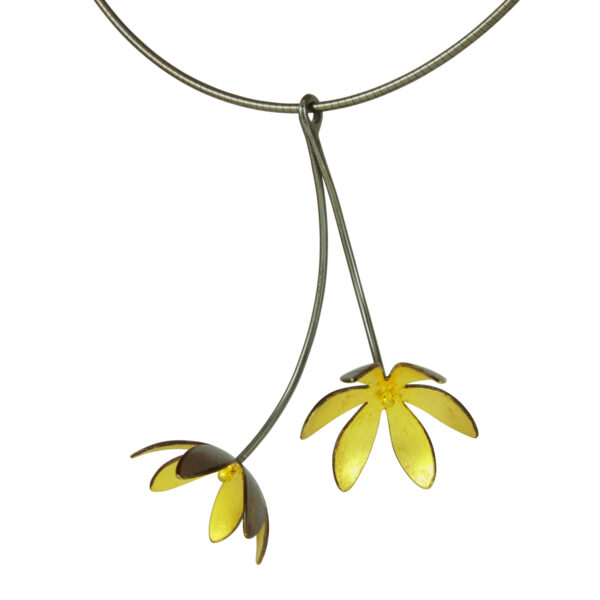 Black and Gold Flower pendant